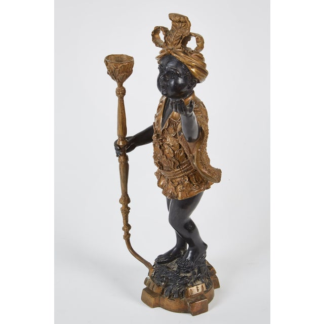 Early 20th Century Pair of 19th Century Female Patinated Bronze Blackamoors For Sale - Image 5 of 6