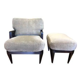 Custom Wood + Fabric Arm Chair + Ottoman For Sale