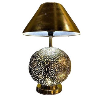 Pair of White Brass Moroccan Table Lamps For Sale