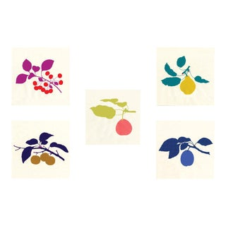 Bright Pomona Fruit, Unframed Artwork - Set Of 5 For Sale