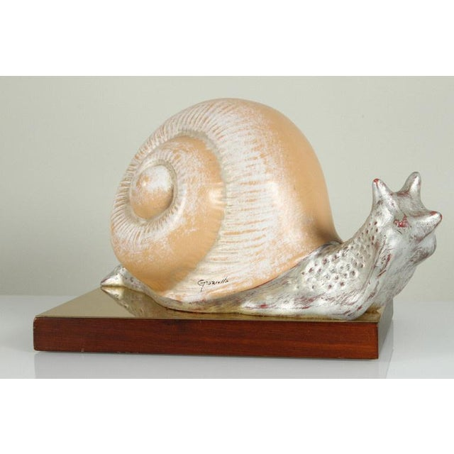 Cream 1970s Vintage Italian Hand Painted Snail Figurine For Sale - Image 8 of 9