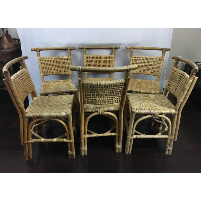 Vintage Bamboo and Rattan Chairs - Set of 6 - Image 5 of 10