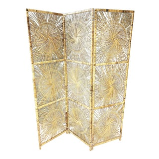 Vintage Boho Chic Wicker 3 Panel Folding Screen