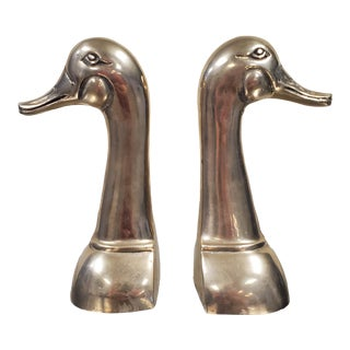 1970s Figurative Brass Duck Bookends - a Pair For Sale