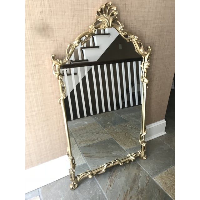 Metal Chinoiserie Gold Carved Wall Mirror For Sale - Image 7 of 13