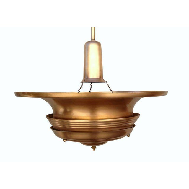 Copper Art Deco Ceiling Hanging Pendant For Sale In Los Angeles - Image 6 of 8
