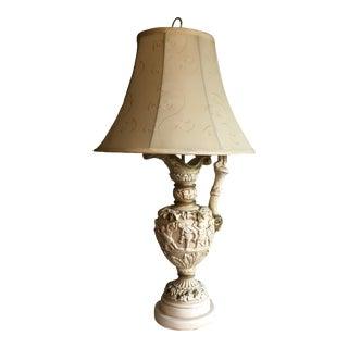 20th Century Plaster Putti Cherub Lamp with Shade For Sale