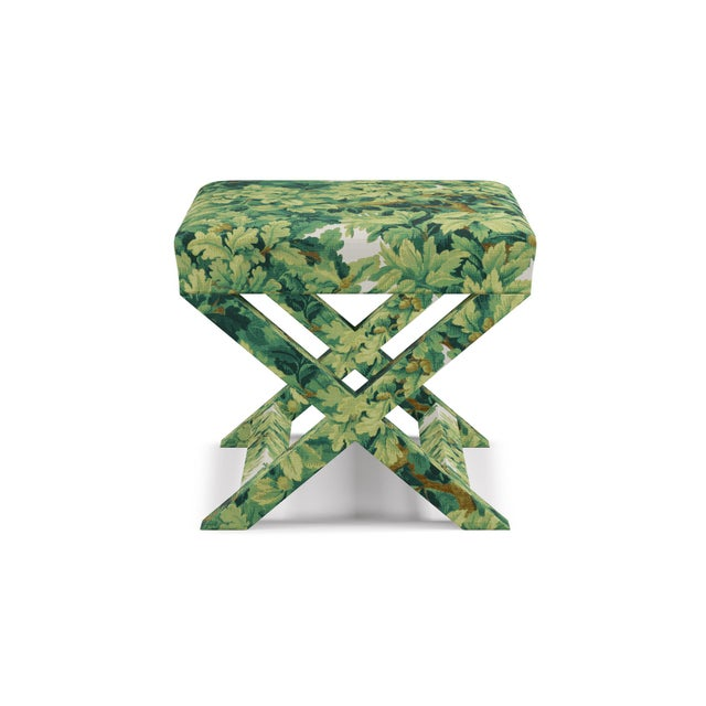 Wood X Bench In Verdure Bois De Chene By Old World Weavers For Sale - Image 7 of 7