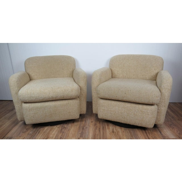 1970s Mid-Century Modern Wool Tweed Swivel Chairs by Preview - a Pair For Sale - Image 13 of 13