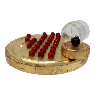 European Gilded Wood Base & Red Marbles Solitaire Game | Holiday For Sale