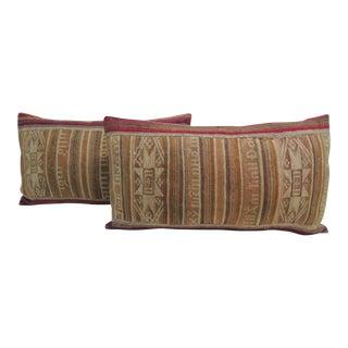 Tribal Woven Multi-Color Ikat Lumbar Decorative Pillows For Sale