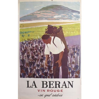 1958 Original Danish Advertisement Poster - La Beran Vin Rouge - en God Rodvin (A Good Red Wine) by Boye Willumsen For Sale
