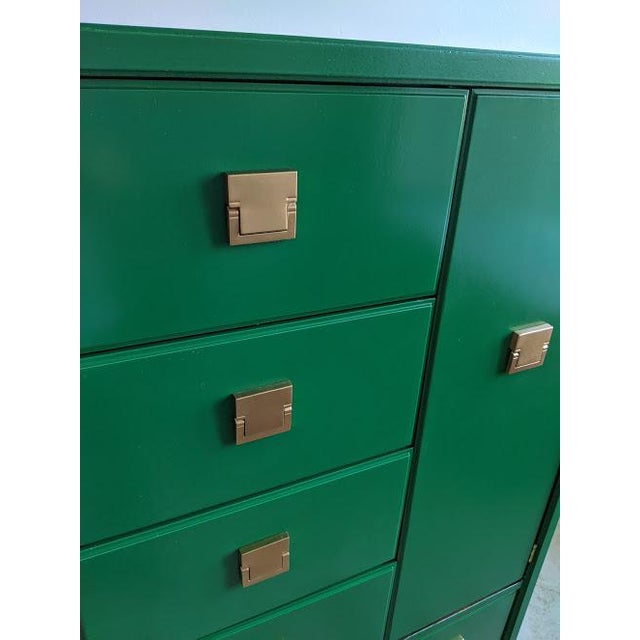 1970s Thomasville Campaign Gloss Green Highboy Dresser For Sale In Phoenix - Image 6 of 10
