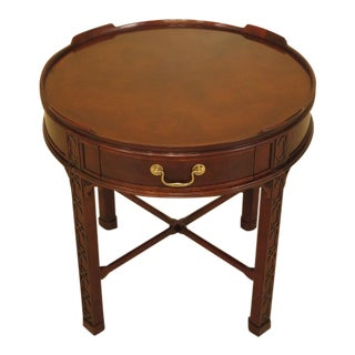 Baker Round Chippendale Mahogany 1 Drawer End Table