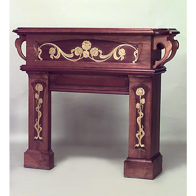 Art Nouveau French Art Nouveau Walnut Fireplace Mantel For Sale - Image 3 of 3
