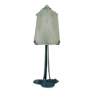 Small French Art Deco Table Lamp With S.E.V.B. Shade For Sale