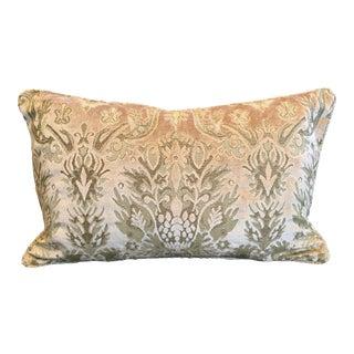 Venetian Velvet Bellini Peach Fortuny Styled Lumbar Pillow For Sale