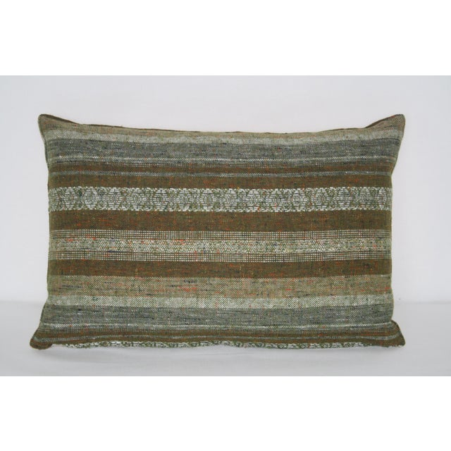 1960's mid-century classic wool pillow set. Front is made of speckled stripe wool pattern. Backed with high quality hemp...