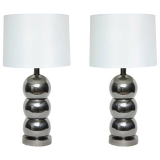 George Kovacs Stacked Gunmetal Ball Lamps - a Pair For Sale