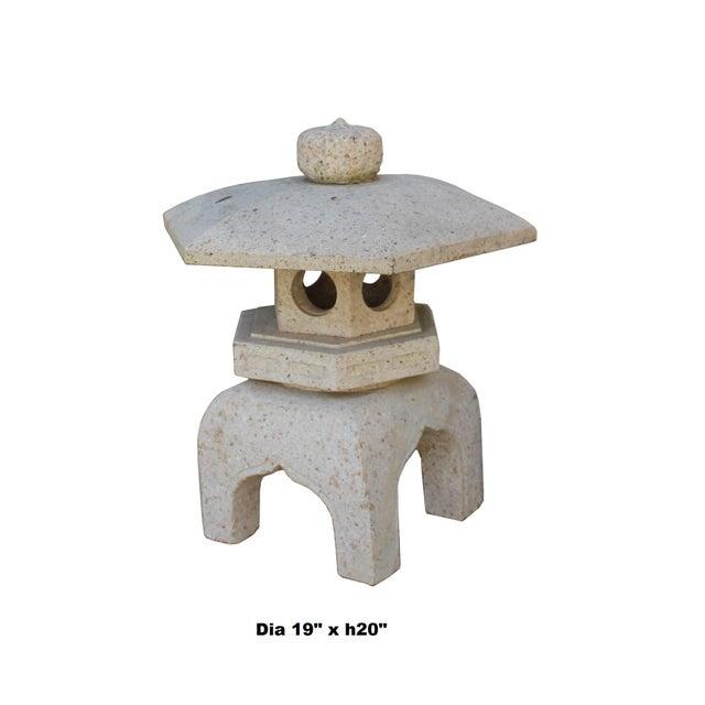 Chinese Zen Off White Gray Hexagon Stone Garden Lantern Statue For Sale - Image 4 of 7