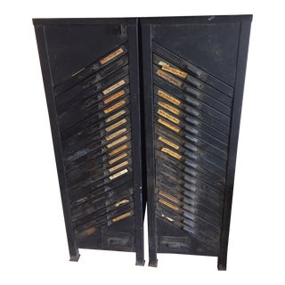1950s Vintage LOM Typesetting Cabinets For Sale