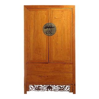Antique Large Armoire with Carved Detailed Panel from China, 19th Century
