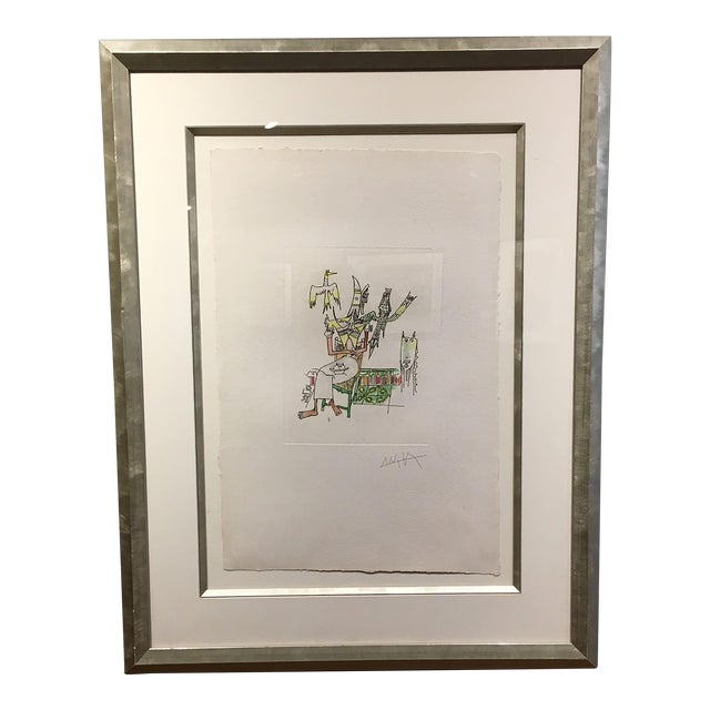 Wifredo Lam Untitled Watercolor Etching For Sale