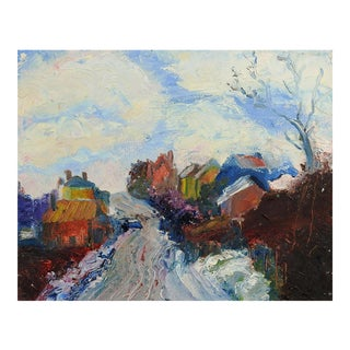 1960's Impressionist Village Scene Oil Painting