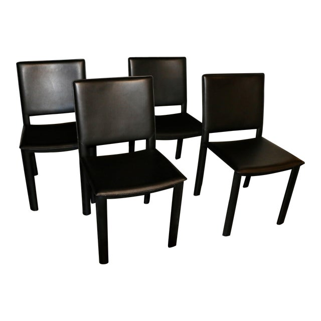 Room and Board Madrid Leather Chairs- Set of 4 For Sale