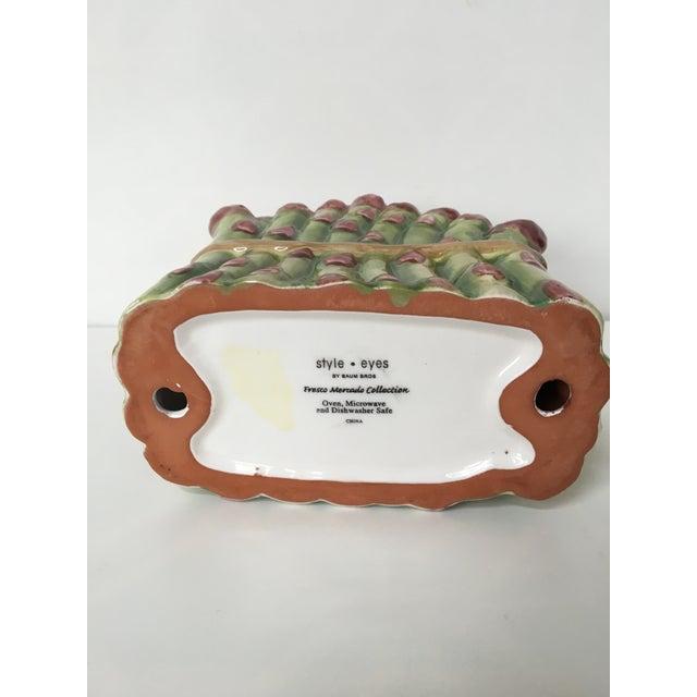 2000s Majolica Ceramic Asparagus Napkin Holder For Sale - Image 5 of 8