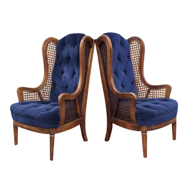 Vintage Cane Lewitte Wing Back Chairs - A Pair - Image 1 of 7