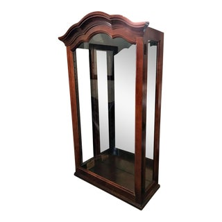 Traditional Howard Miller Cherry Wall Mounting Mirrored Display Cabinet For Sale