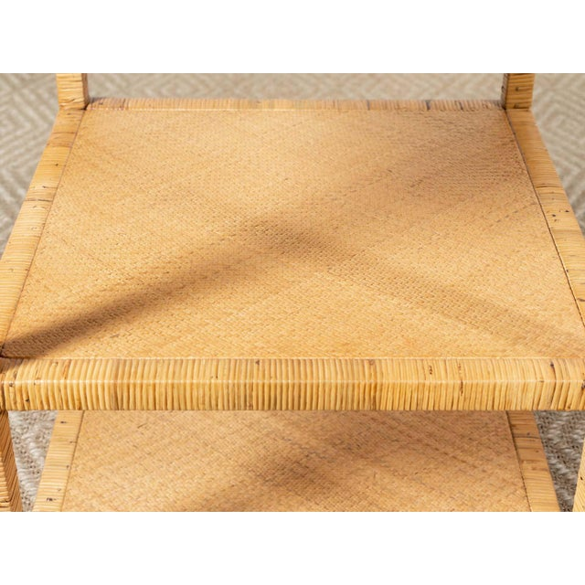 2010s Modern Woven Rattan Side Table For Sale - Image 5 of 6