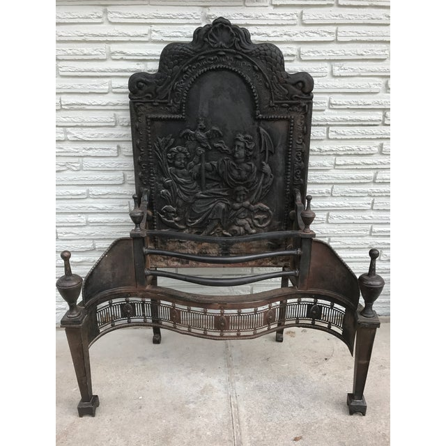 Cast Iron Coal Fireback For Sale - Image 4 of 7