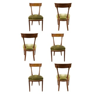 Set of 6 French Walnut Directoire Style Chairs For Sale