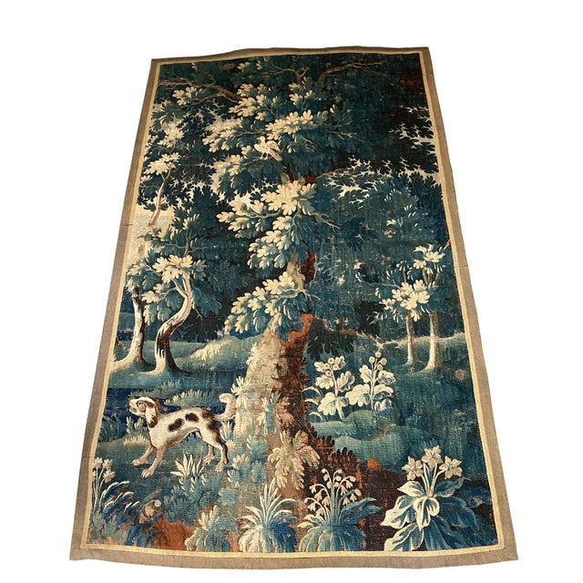 Green 18th Century Vintage Flemish Pictorial Tapestry For Sale - Image 8 of 8