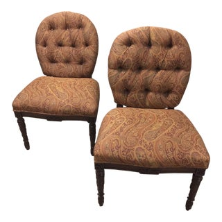 1940s Upholstered Side Chairs - a Pair For Sale