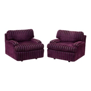 Postmodern Purple Striped Lounge Chairs - a Pair For Sale