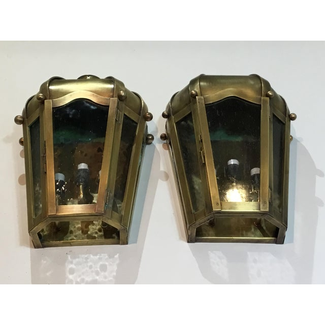 Hand Crafted Wall Mounted Brass Lanterns - A Pair - Image 5 of 11
