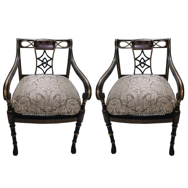 Lion's Paw Feet Side Chairs with Fretwork - A Pair - Image 1 of 6