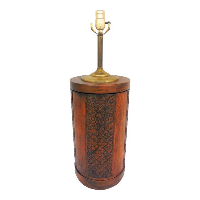 Mid-Century Mahogany Fretwork Lamp - Image 1 of 5