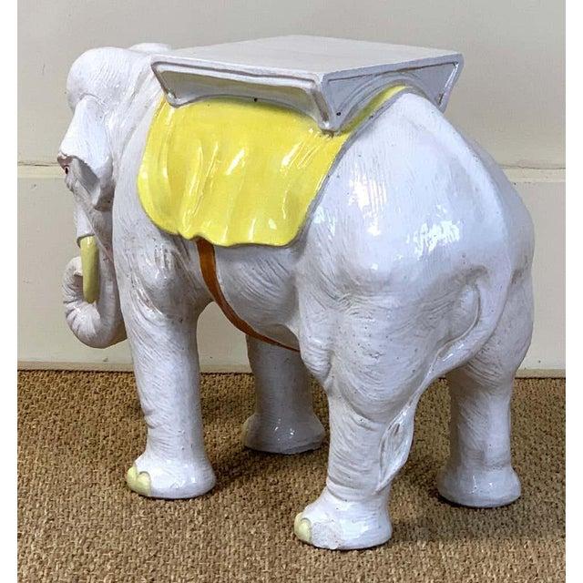 Italian Glazed Ceramic Elephant Garden Seat For Sale - Image 4 of 13