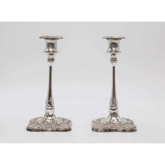 English Antique English Silver Plate Candelabra & Candlesticks - Set of 3 For Sale - Image 3 of 7