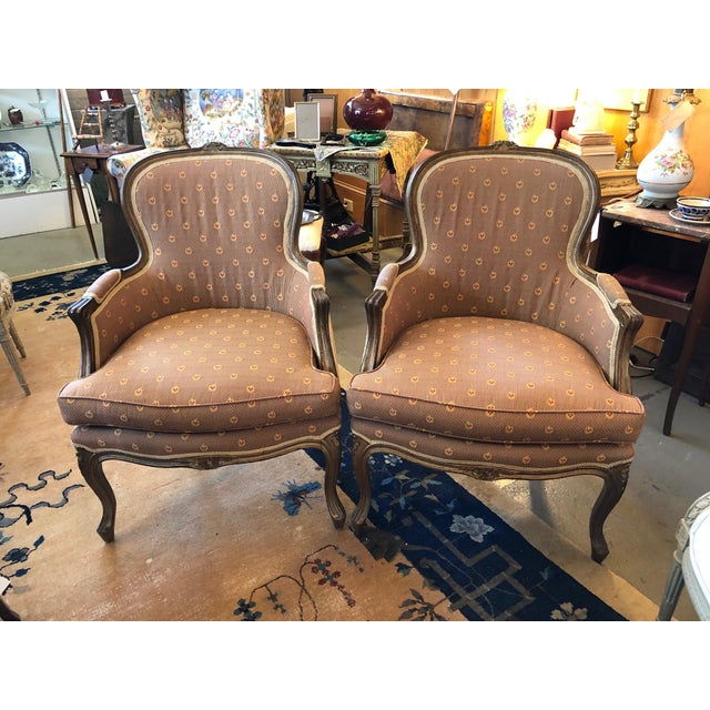 Early 20th Century Vintage Louis XV Style Walnut Bergere Chairs - A Pair For Sale - Image 10 of 10