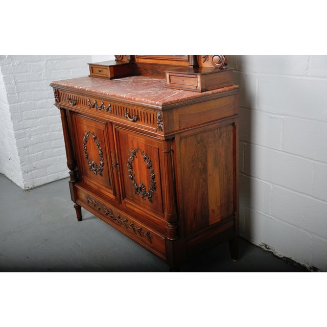 Metal 1900's French Walnut Vanity Dresser with Red Italian Marble Top For Sale - Image 7 of 13