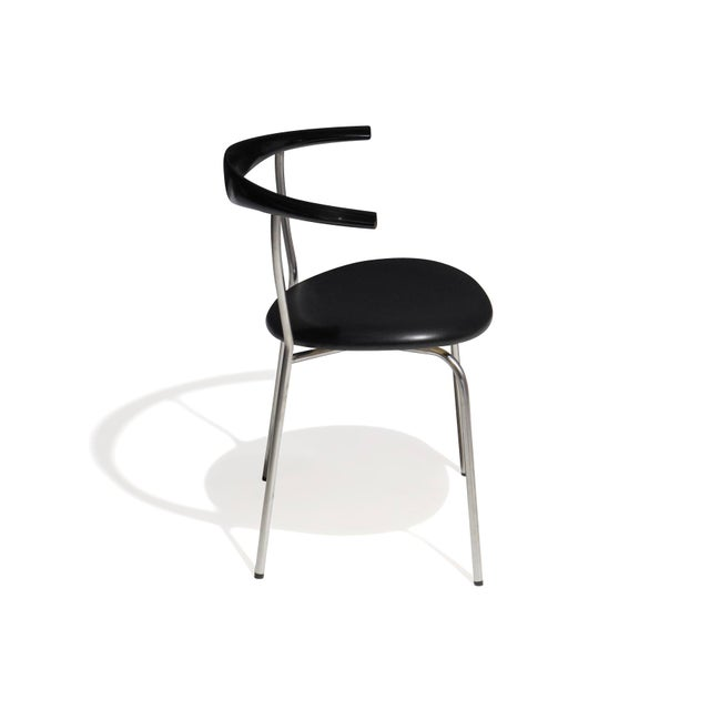 PP Mobler Set of 4 Hans Wegner PP701 Bull Horn Dining Chairs in Black Lacquer, Leather and Steel For Sale - Image 4 of 13