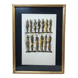 """""""Thirteen Standing Figures"""" Attributed to Henry Moore, 1958, Original Lithograph For Sale"""