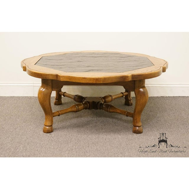 """Black Thomasville Furniture Chateau Provence Collection 42"""" Slate Top Coffee Table For Sale - Image 8 of 11"""