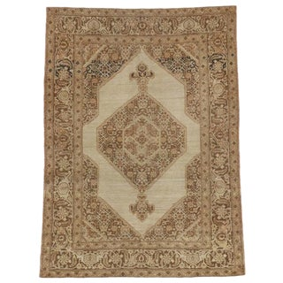Haji Khalili Antique Persian Tabriz Rug in Muted Neutral Colors For Sale