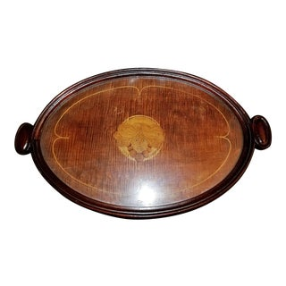 19th C. British Marquetry Inlaid Serving Tray For Sale